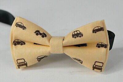 Boy Kids Baby Page Boy Yellow Car Cars100% Cotton Bow Tie Bowtie 1-6 Years Old