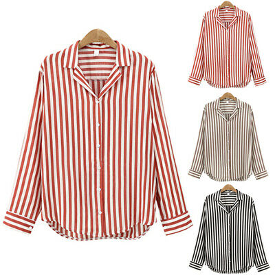 Pattern New Fashion Casual Sleeve Womens Shirt Long Striped Tops Loose Women's