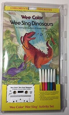 "Wee Color Wee Sing ""Dinosaurs"" Song & Activity Set Vintage 1980's Coloring Book"