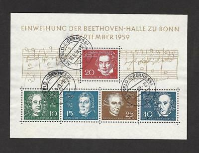 Germany Music Composers 1959 Souvenir Sheet, used ,XF Scott #804 Michel #315-319