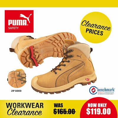 Puma Safety Work Boots with Zip and Toe Cap 630367 Nullarbor Wheat NEW with tags