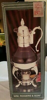 Vintage WM.Rogers & Son Silverplate Glass Coffee Carafe Pitcher with Stand 8 Cup