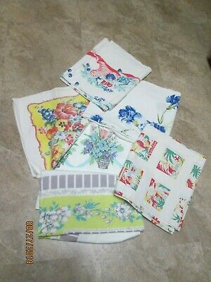 Vtg Lot 6 Cotton Print Tablecloths BASKETS FLORAL MEXICAN + GOOD CONDITION