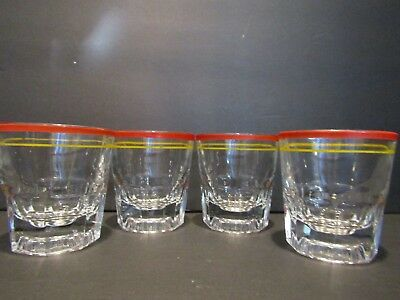 """Vintage~YELLOW & RED Striped~SET OF 4 OLD FASHION GLASSES~3.25""""~HOLDS 4 OZ"""