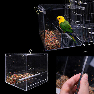 HAcrylic Automatic Parrot Feeder No Mess Bird Cage Seed Feeding Container Box AU