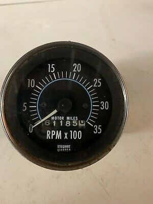 "Vintage Stewart Warner 481-BLK6 3"" Tachometer With Hour Meter   0-3500 RPM Used"