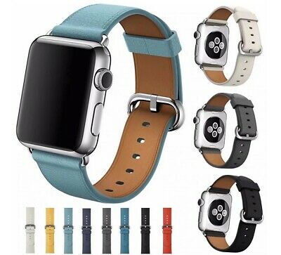 For Apple Watch Series 5 4 3 2 1 Leather Watch Band Strap Classic Buckle iwatch