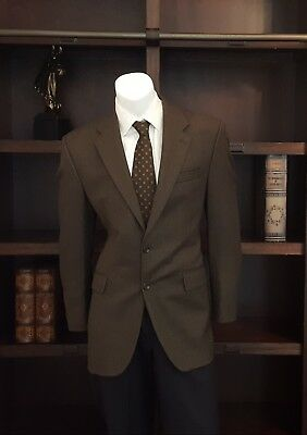 Chaps Ralph Lauren Men's 100% Wool Brown Herringbone Lined Blazer Sport Coat 40L