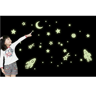 Glow in the Dark Children Ceiling Wall Stickers Bedroom Stars Moon Decor NP2Z
