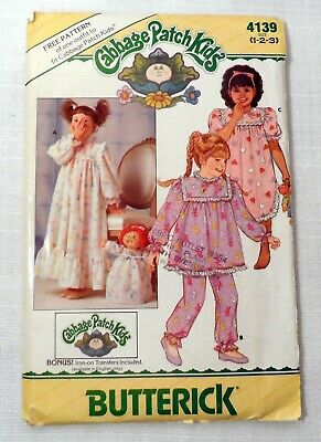 Vintage 80s Pattern Butterick 4139 Cabbage Patch Toddler Pajamas Nightgown Uncut