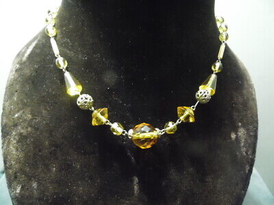"""1930's Art Deco Czechoslovakian~12K Yellow Gold~Faceted BalticAmber 16"""" Necklace"""
