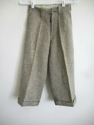 Vintage 1920s Boy's Brown Tweed PANTS Cuffed Hem 23 Inch Waist Button Fly Front