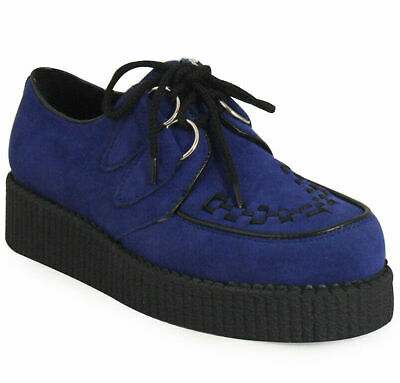 Womens Creepers Shoes Ladies Navy Goth Punk Suede Lace Up Chunky Platform Size