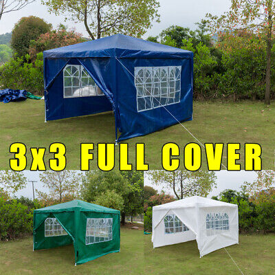 3x3M Gazebo Heavy Duty Marquee Canopy Waterproof Garden Patio Party Tent w/Sides