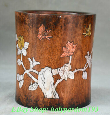 """6"""" Old China Huanghuali Wood inlay Shell Flower butterfly Brush Pot Pencil Vase"""