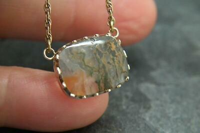 Fine Antique Georgian/Victorian Moss Agate & 9ct Gold Rope Twist Necklace Chain