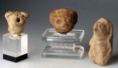 *Sc*Interesting Lot Of Three Pre Columbian Pottery Figures!