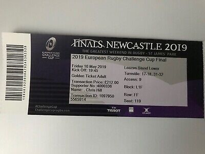USED TICKET EUROPEAN RUGBY CHALLENGE CUP FINAL CLERMONT v LA ROCHELLE 10/5/2019