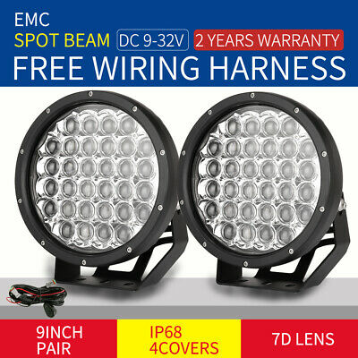 9 INCH Pair Cree LED Driving Lights Spotlight 7D Round Black Offroad 4x4 SUV UTE