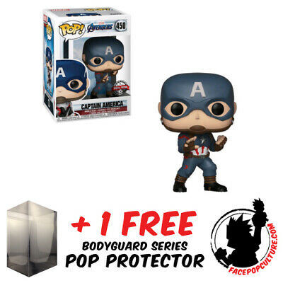 Funko Pop Vinyl Marvel Avengers 4 Endgame Captain America Exclusive + Protector