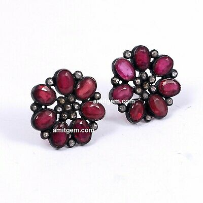 Rose cut Diamond Real Red Ruby Victorian 925 Sterling Silver Stud Earring 681