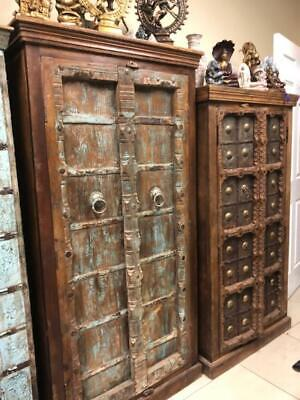 Antique Armoire Rustic Farmhouse Storage Distressed Blu Cabinet ECLECTIC BOHO