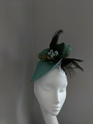 Teals,Greens And Peacock Fascinator, Races Weddings