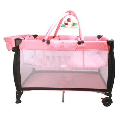 BABY Portable Travel Cot Portacot with Bassinet - Pink