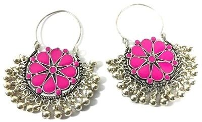 Pink Hand Painted Color Handmade Clip-On Style Earring 5 Cm Silver Overlay