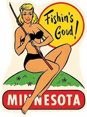 Minnesota  pin-up girl  fishing great lakes  Vintage Style Travel Decal sticker