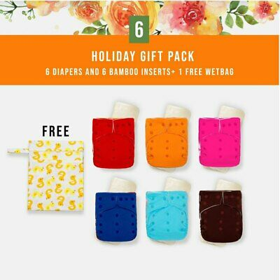 KaWaii Color Block Gift Pack (6 Cloth Diapers 6 Premium Bamboo Inserts+1 Wetbag)