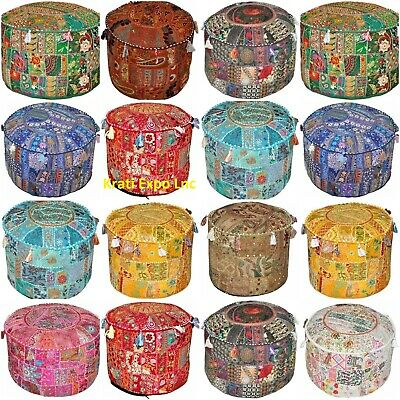 Round Vintage Ottoman Pouf Cover Indian Khambadi Patchwork Foot Stools Cover