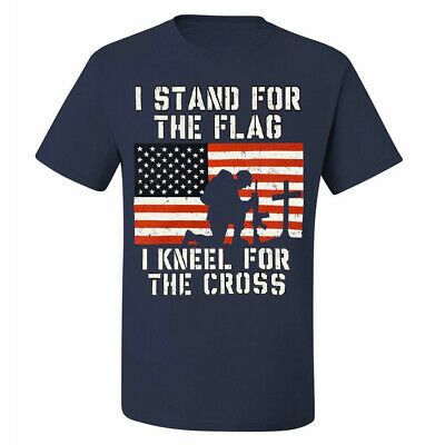 Men's T-Shirt I Stand for the Flag I Kneel for the Cross Patriotic Military Navy