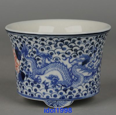 China antique Qing Dynasty Hand drawn Blue and white Dragon pattern Flower pot
