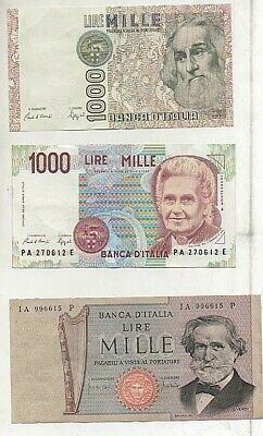 Lotto 3 Banconote Italiane 1000 Lire Proof Mai Circolate In Folder