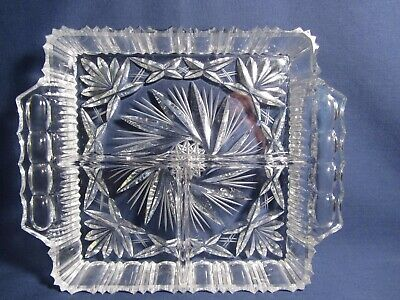 Heavy Cut Glass Clear Square Dish Divided 3 part Vtg Condiment Candy Nut Relish