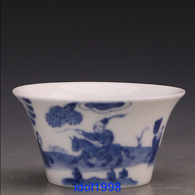 China antique Hand drawn Blue and white the characters Kungfu Online Teacup