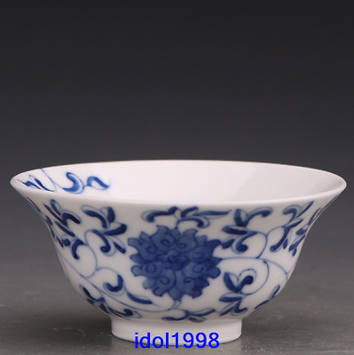 China antique Hand drawn Blue and white Twine Lotus pattern Kungfu Online Teacup
