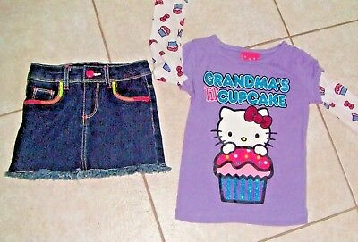 New Hello Kitty Studded Embellished Kid T shirt Pink Heather Grey Size 4 Size 5