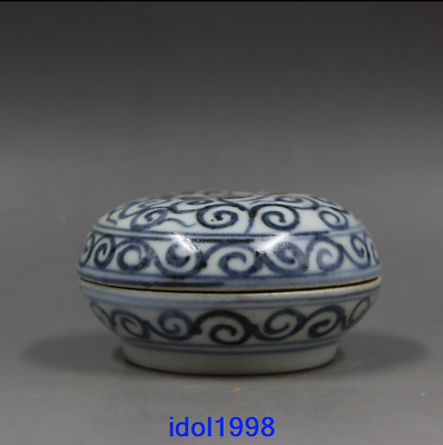 China antique Ming Dynasty Blue and white the red Lotus flower Inkpad the box