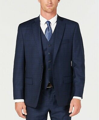 $450 Michael Kors Men'S 40r Blue Classic Fit Check Wool Suit Coat Jacket Blazer