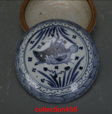 China old antique Ming Dynasty Blue and white fish Grass pattern Inkpad box