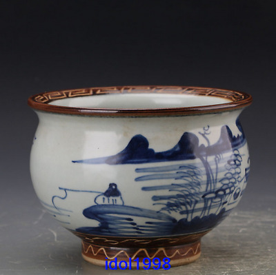 China antique Qing Dynasty Blue and white Hand drawn shan water The censer
