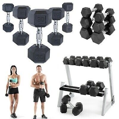 Hex Dumbbells Rubber Coated Home Free Weights Strength Training Dumbbell Pair