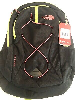 THE NORTH FACE BOOKBAG BACKPACK WOMEN JESTER BlACK/LIME GREEN/CORAL BRAND NEW