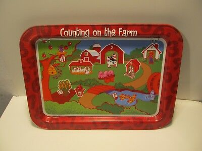 "Vintage 1981 Counting on the farmTV Television Lap Tray Childrens 17.5"" x 12.75"""