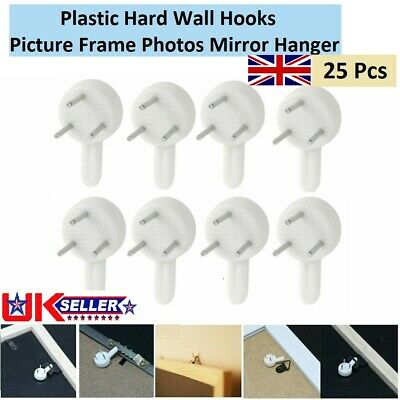 25x Plastic Hard Wall Picture Hooks Frame Photos Mirror Small Hanging Hook White