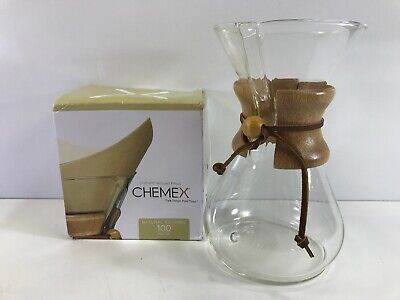 "Chemex 2-6 Cup Pour Over Coffee Maker w/ 100 Filters 9 1/2"" West Germany Vintage"