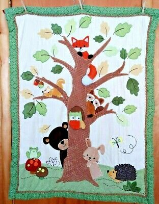 "LAMBS IVY Crib Quilt 45""X35"" *** Animals & Mushrooms"