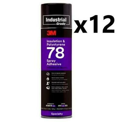 * Case of 3M Insulation & Polystyre 78 Spray Adhesive (12 Cans) 17.9 oz Each Can